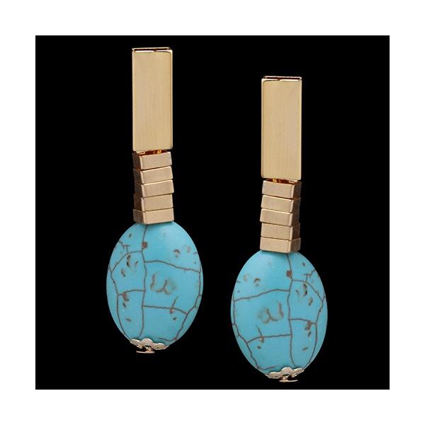 Brinco folheado à ouro 18k com pedra natural turquesa azul