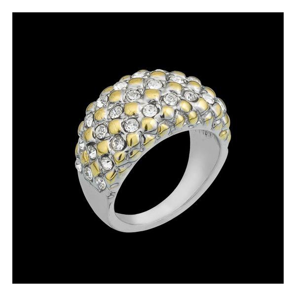 Anel folheado em ouro branco pure glamour