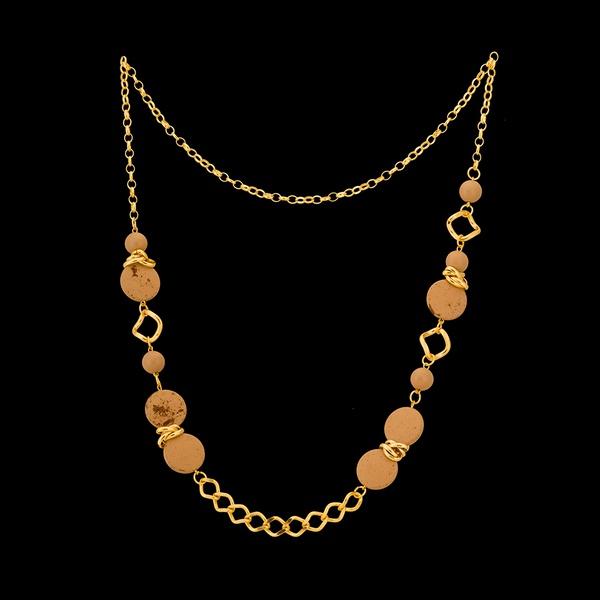Colar folheado à ouro 18k Pedraria Marrom