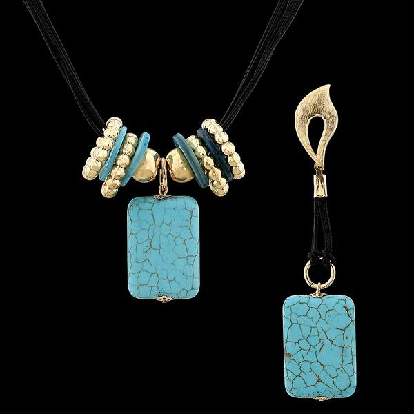 Conjunto com Fios Encerados e Pedra Natural Turquesa Azul
