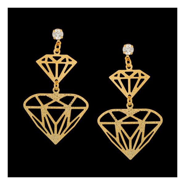 Brinco folheado à ouro 18k pedra de diamante