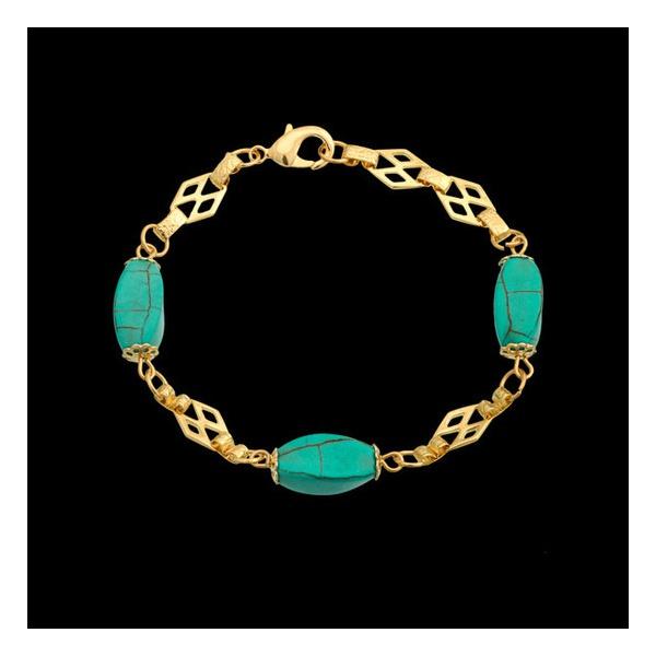Pulseira folheada à ouro 18k com pedra natural turquesa azul
