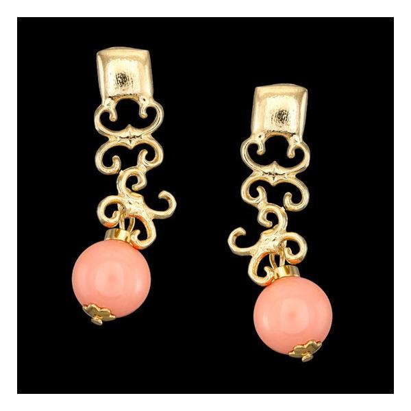 Brinco folheado à ouro 18k penélope rosa