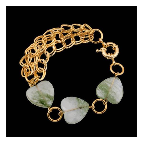 Pulseira folheada a ouro, com pedra natural