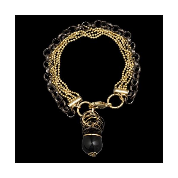 Pulseira folheada a ouro ,com pedra natural onix