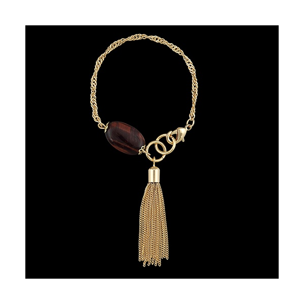 Pulseira Folheada a ouro, com pedra natural olho de tigre e cacho de correntes-694