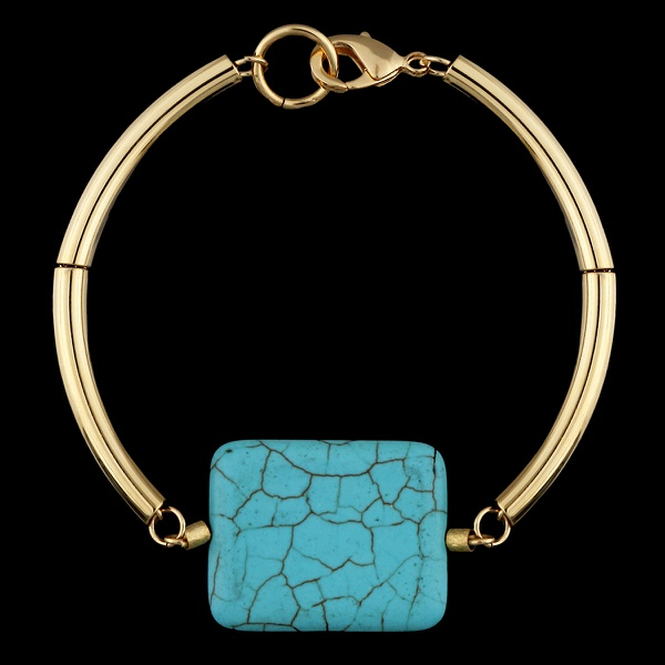 Pulseira Bracelete Folheado à Ouro Tubos e Pedra Turquesa Azul