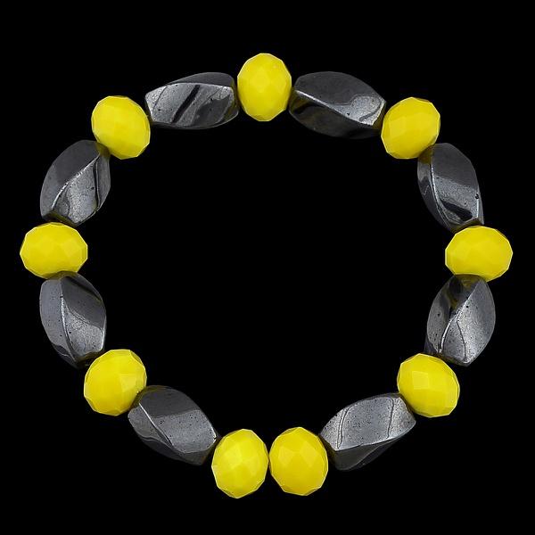 Pulseira fio de silicone Cristais Amarelos
