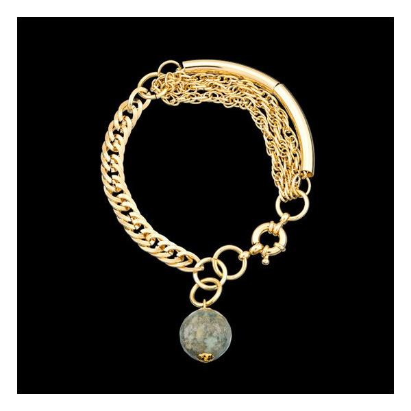 Pulseira folheada a ouro,com pedra natural agata indiana