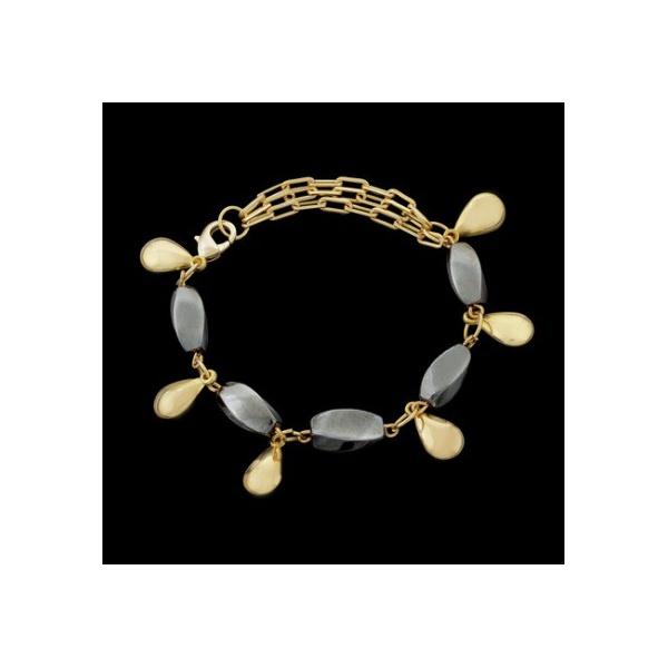 Pulseira folheada a ouro,com pedra natural hematita.