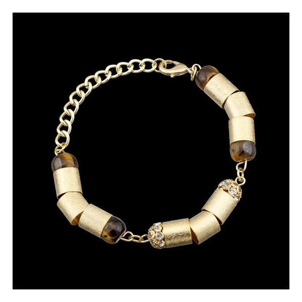 Pulseira folheada a ouro,com pedra natural olho de tigre e strass