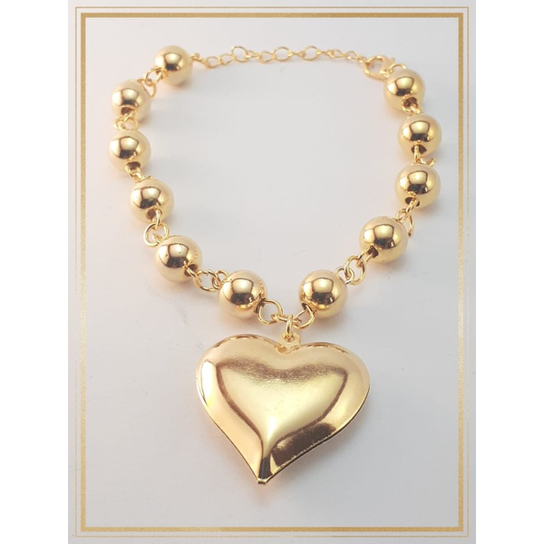 Pulseira Folheada Ouro 18k Acessories Heart