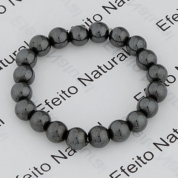 Kit 50 6 mm Pulseira Masculina Efeito Natural Hematita
