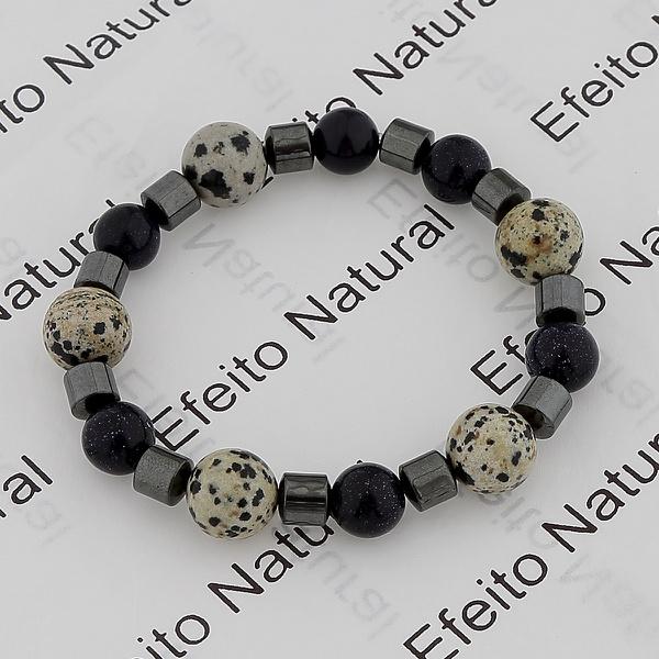 Pulseira Masculina Efeito Natural Hematita e Pedras Naturais