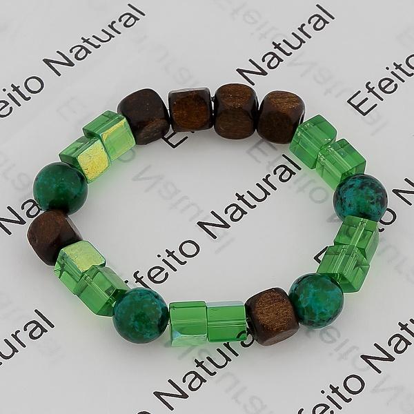 Pulseira Masculina Efeito Natural Pedra Amazonita e Acessórios Madeira