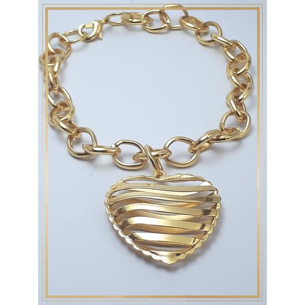 Pulseira Folheada Ouro 18k Elos Coração
