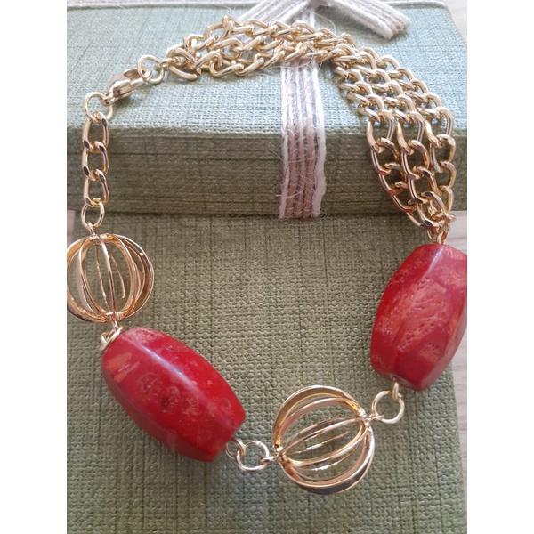 Pulseira Folheada à Ouro com Pedra Natural Vermelha