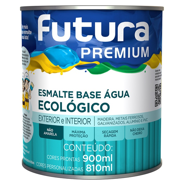 Esmalte Base Água Ecológico Premium Brilhante 0,9L - Futura