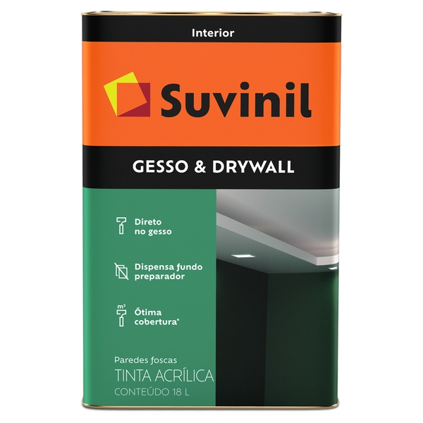 Tinta Látex Premium Gesso & Drywall Fosco 18L - Suvinil