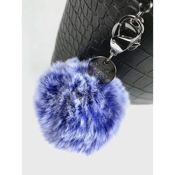 Chaveiro de Pompom Azul e Branco