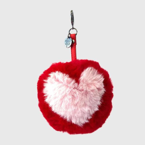 Chaveiro de Pompom Com Desenho de Coração