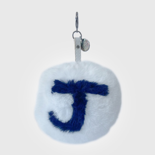 Chaveiro de Pompom Com Desenho da Letra J do Alfabeto