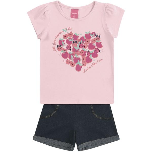 Conjunto Infantil Menina Blusa Cotton Rosa + Short Cotton jeans