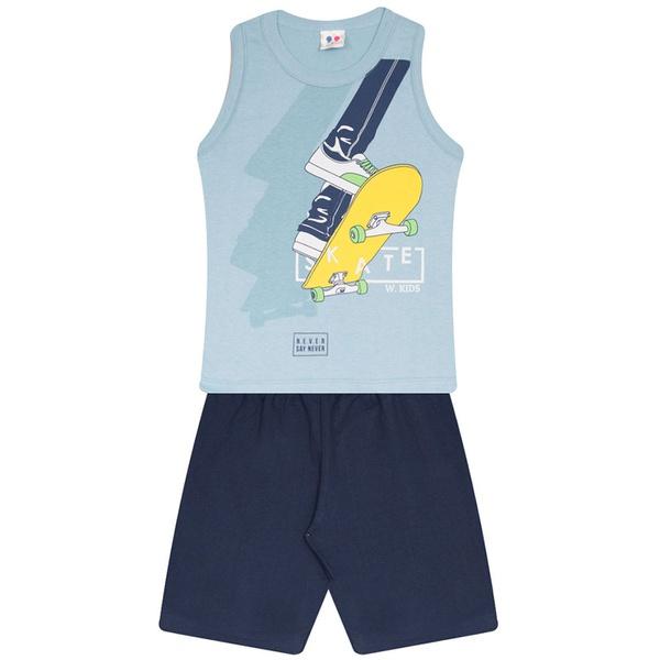 Conjunto Menino Regata Azul Skate e Short Moletinho