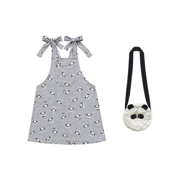 Salopete Com Bolso Cinza Mescla Verão Menina Estampa Pandinha + Bolsa De Panda