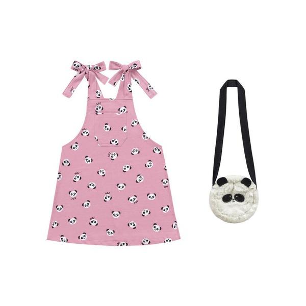 Salopete Verão Menina Estampa Urso Panda Com Bolso + Bolsa De Panda Rosa Claro