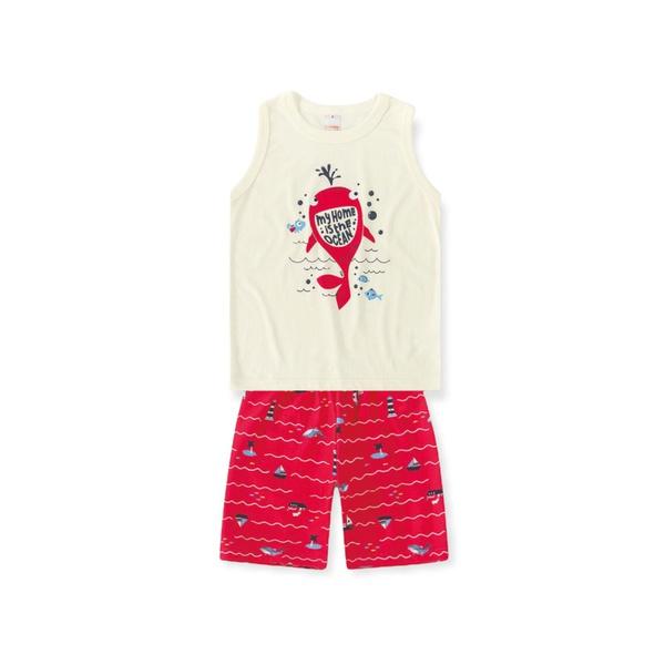 Conjunto Infantil De Menino Verão Regata Estampa Baleia e Short Vermelho