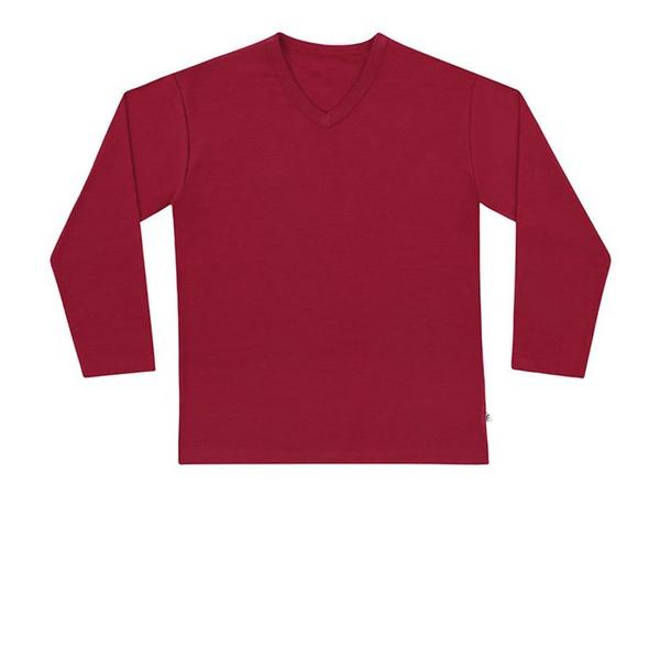 Camiseta de Manga Longa Infantil de Menino Básica Vermelha