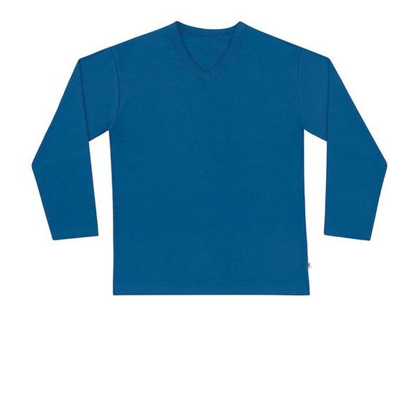 Camiseta de Manga Longa Infantil de Menino Básica Azul Jeans