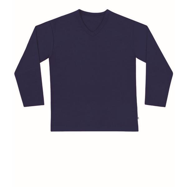 Camiseta de Manga Longa Infantil de Menino Básica Azul Marinho