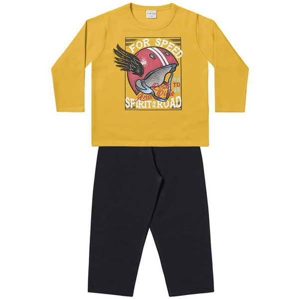 Conjunto Infantil Menino Moleton Flanelado Amarelo Speed e Calça Preta