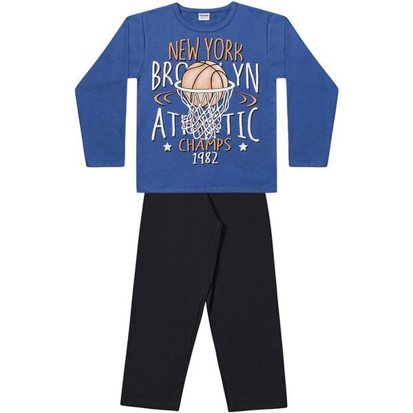 Conjunto Inverno Menino Moleton Flanelado Azul Brooklin e Calça
