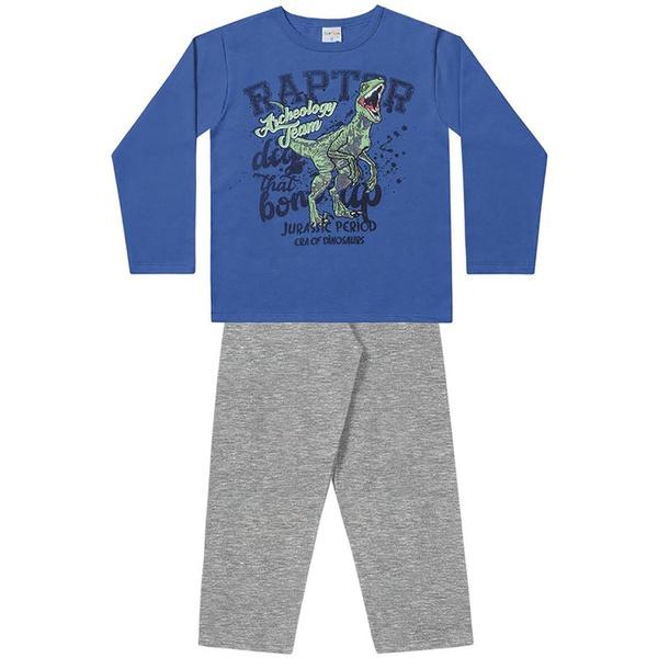Conjunto Infantil Moletom Flanelado Menino Dinossauro Raptor Azul