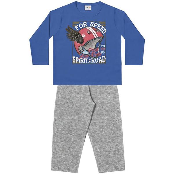 Conjunto Infantil Menino Moleton Flanelado Azul Speed e Calça Cinza