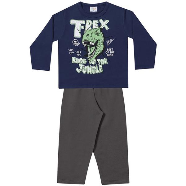 Conjunto Infantil Menino Moleton Flanelado Marinho T-Rex e Calça Cinza