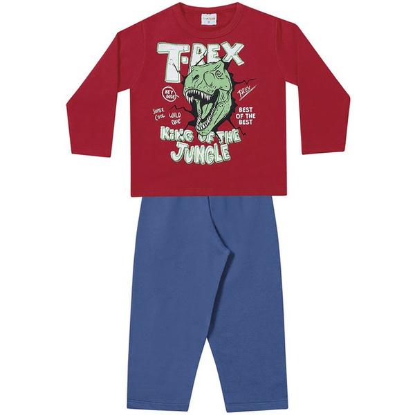 Conjunto Infantil Menino Moleton Flanelado Vermelho T-Rex e Calça Azul