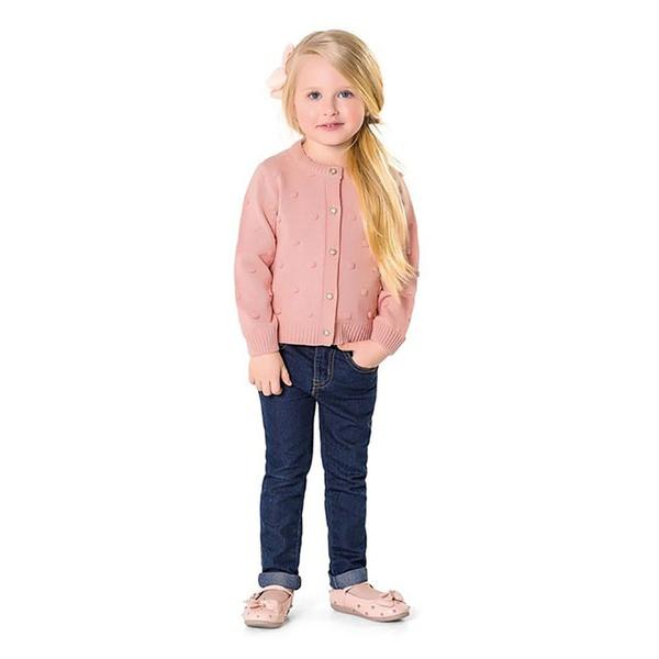 Casaco Tricot Infantil de Menina Rose