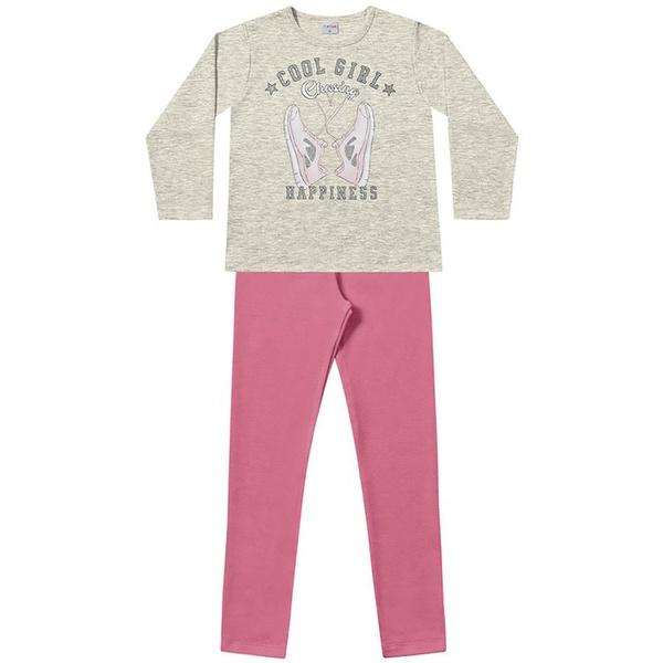 Conjunto Inverno Menina Cool Girl com Casaco de Moleton Cinza e Legging Rosa