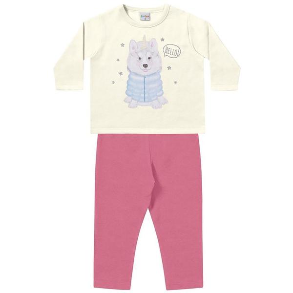 Conjunto Inverno Bebê Menina Moleton Marfim e Legging Flanelada Rosa