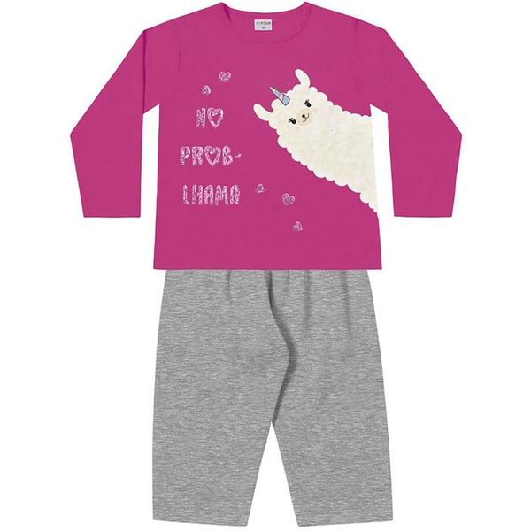 Conjunto Inverno Bebê Menina Moleton Flanelado Pink e Calça Mescla