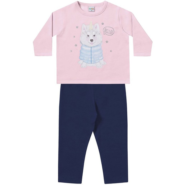 Conjunto Inverno Bebê Menina Moleton Rosa e Legging Flanelada Marinho