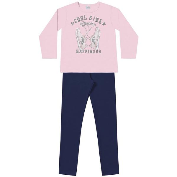 Conjunto Inverno Menina Cool Girl com Casaco de Moleton Rosa e Legging Marinho