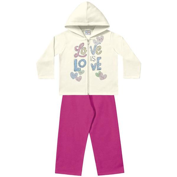 Conjunto Infantil Menina Jaqueta com Capuz Branca Love e Calça Pink