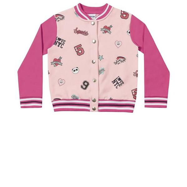 Jaqueta Infantil de Inverno Menina Rosa Fakini Colegial