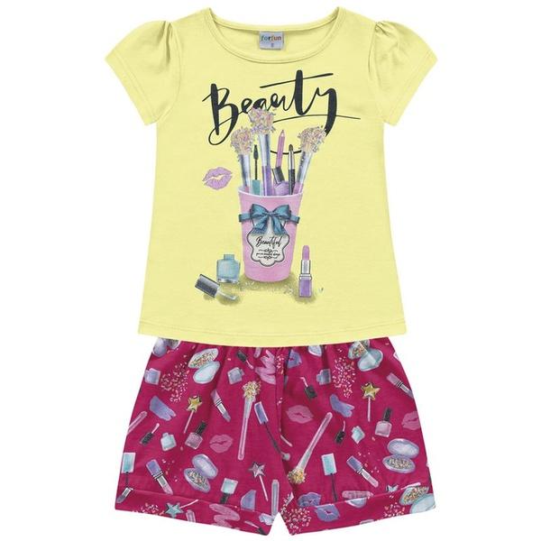 Conjunto Infantil de Menina Fakini Verão Maquiagem Amarelo/Pink