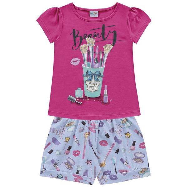 Conjunto Infantil de Menina Fakini Verão Maquiagem Rosa/Azul